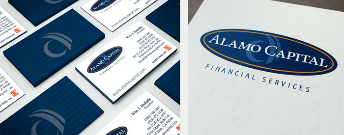 Logo and two-sided business cards for a Walnut Creek financial company
