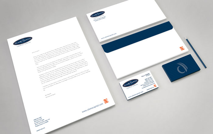 Stationery package design, including letterhead, business cards, and envelope