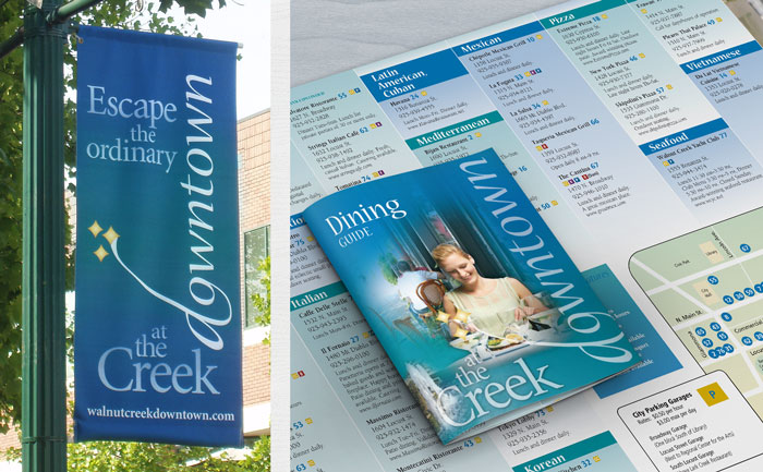 Outdoor lamp post banner design for downtown Walnut Creek, plus dining guide design.