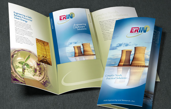 Trifold brochure plus brochure inserts that utilize an interesting double-sided fold.