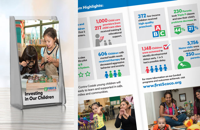 Trifold brochure design with infographics