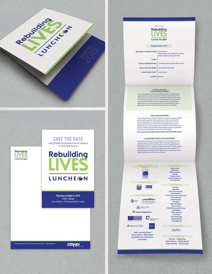 Event branding package: invitation, save the date postcard, program guide, stationery