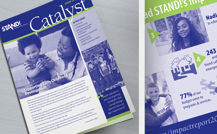 Newsletter design distributed to donors across Contra Costa County and the greater Bay Area.