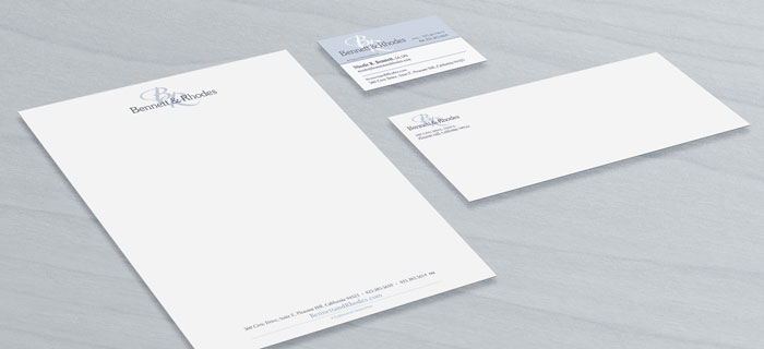 Stationery package design including, business card, letterhead, and envelope