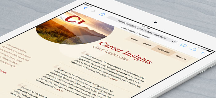 responsive website design shown on iPad