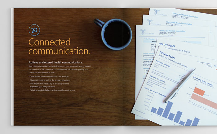 Creative graphic design layout for multi-page brochure