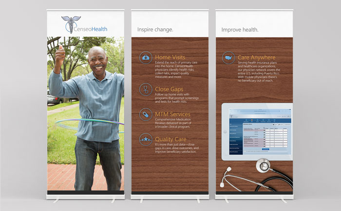 Graphic design for large 3-panel tradeshow display