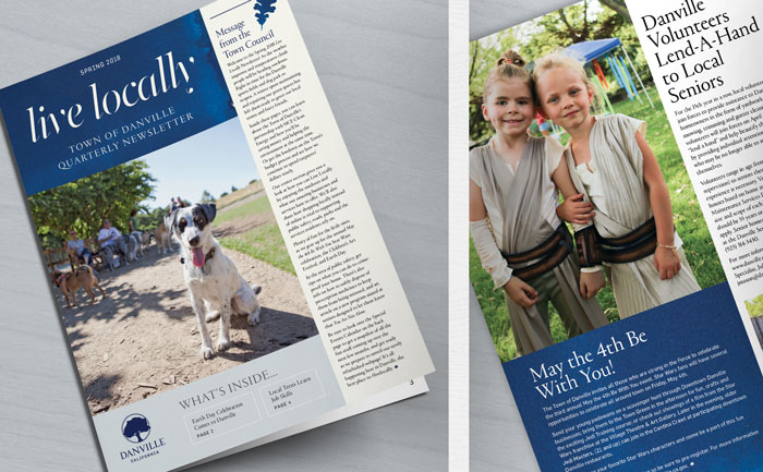 Cover design for Danville's newsletter, and close-up of interior page