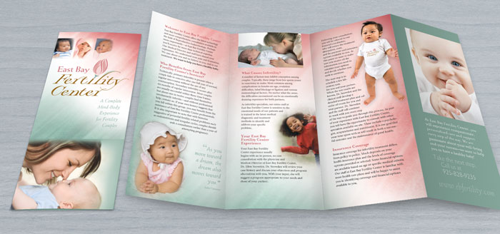 Folded brochure and branding design for East Bay Fertility