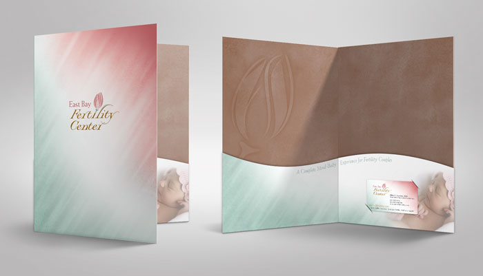 Graphic design for a presentation folder for East Bay Fertility, with curved pockets and metallic gold pantone background color