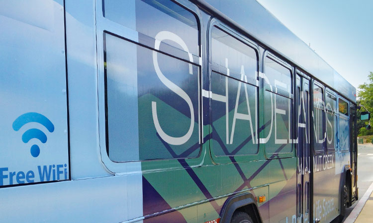 Logo and branding for Shadelands Walnut Creek, including bus wrap design
