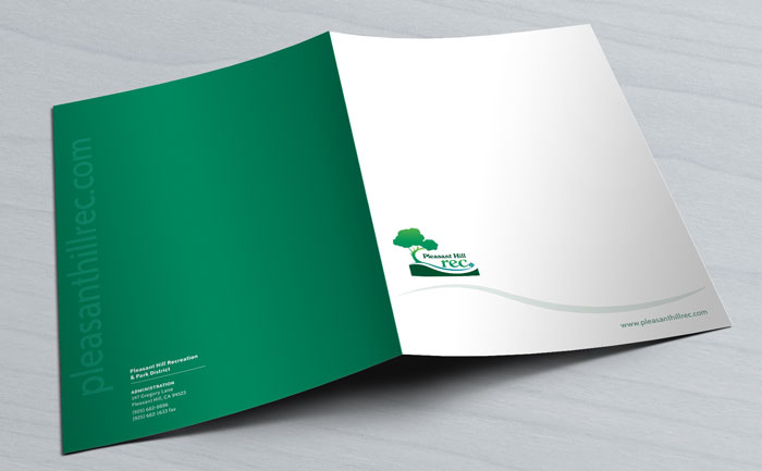 Folder design for Pleasant Hill Rec, showing their branding