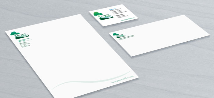 Logo and identity for Pleasant Hill Rec, displayed on letterhead, business card, and envelope designs.
