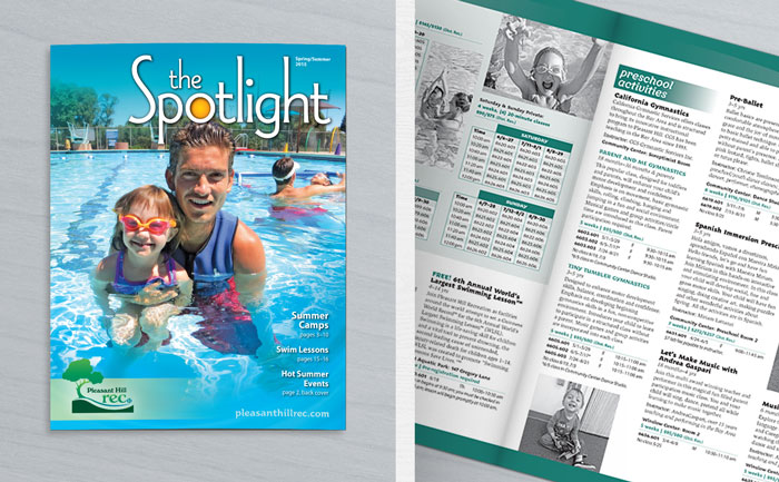 Graphic design for Pleasant Hill's recreation guide, a multi-page publication.