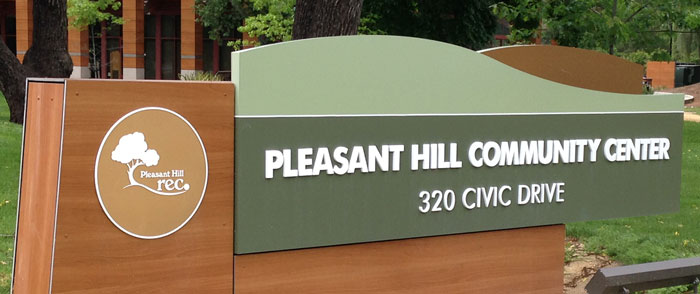 Logo and identity signage for Pleasant Hill Rec