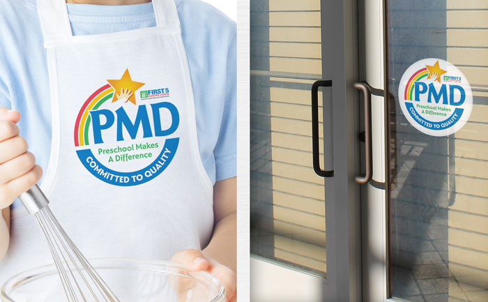 Logo design shown on apron and window decal